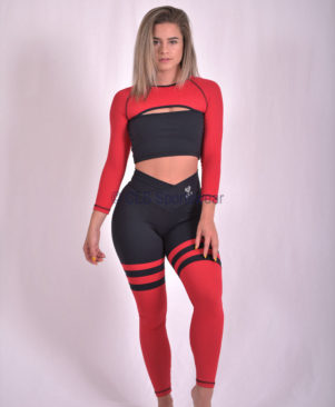 Black Red Aerobic Striped Leggings (Custom- Made)