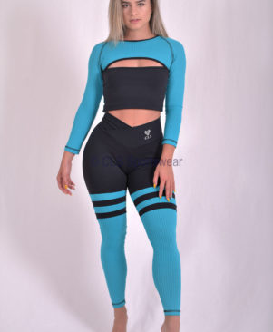 Preto Aerobic Blue Striped Leggings (Custom-Made)
