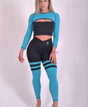 Preto Aerobic Blue Striped Leggings (Custom-Made)