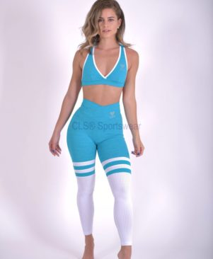 NC Heather Hawaii Aerobic Striped Leggings