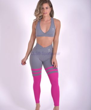 Grafite Carmin Aerobic Striped Leggings (Custom-Made)
