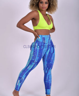 NC Viva Premium Blue Matrix Leggings And Biker Shorts