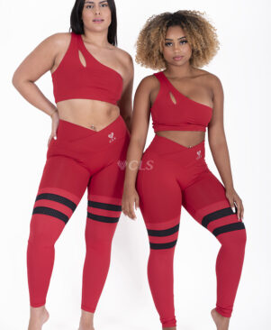 NC Seamless Front Striped Leggings Scarlet