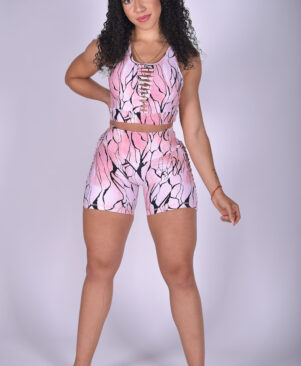 NC Shape Diamond Slits Shorts Pink Marble