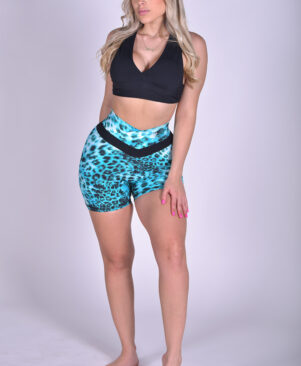 NC Shape Seamless Front Shorts Blue Leopard
