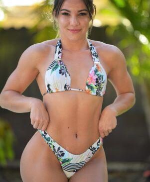 NC Olivia Scrunch Bikini Bottom Geometric Garden