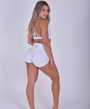 NC Trance Meia Lua Textured Shorts Branco
