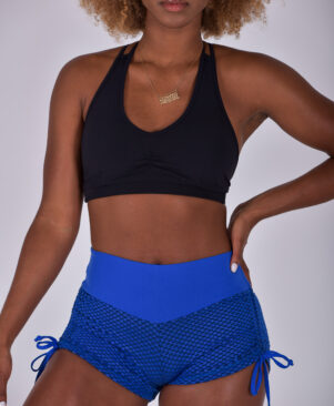 NC Geo Textured Side Tie Shorts Palace Blue